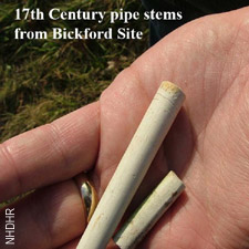 Pipe stems found at Bickford site/ SeacaostNH.com and NHDHR