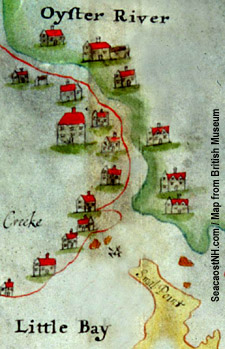 Oyster River from 1660s era piscataqua Region map / SeacoastNh.com fourtesy NHDHR