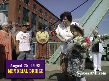 Former Portsmouth Mayor Eileen Foley and her five year old granddaughter Ellie Foley rededicate the Memorial Bridge in 1998. / J. Dennis Robinson photo