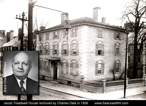 NH Gov Charles Dale demolished the 1769 Treadwell (Cutter-Langdon) Mansion in 1956 to build a strip mall and bowling alley in Portsmouth, NH / SeacoastNH.com courtesy Strawbery Banke and Back CHannel PRess