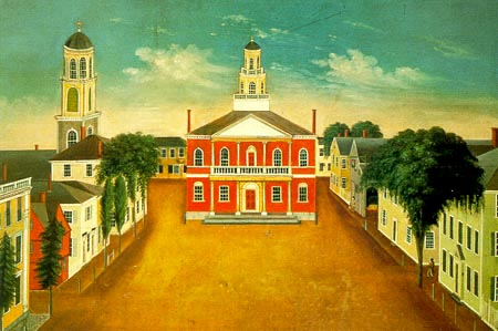 Not many provincial statehouses survive. This picture from Salem, Massachusetts shows how early New England court houses were placed right at the center of things. (Used courtesy of the Peabody Essex Museum in Salem on SeacoastNH.com)