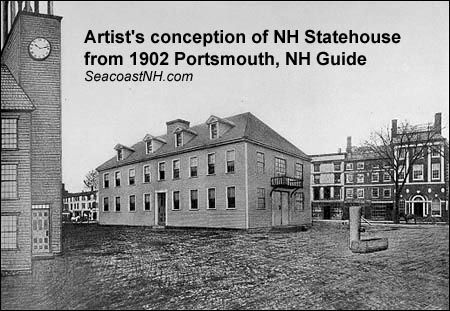 1902 sketch of OL NH Statehouse from Gurney's Historic & Picturesque Guide to Portsmouth / SeacoastNH.com