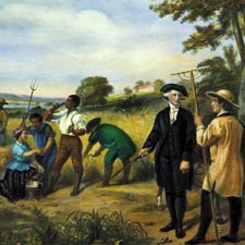 Washington and his slaves at Mount vernon / Library of Congress