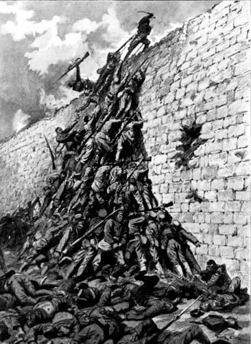 Japanese soldiers form a human pyramid in order to scale the fortress walls during the siege of Port Arthur./ Peter E Randall, publisher