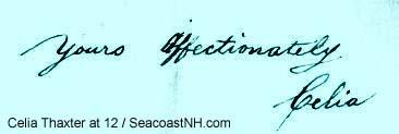 Celia Thaxter signature at 12 / SeacoastNH.com