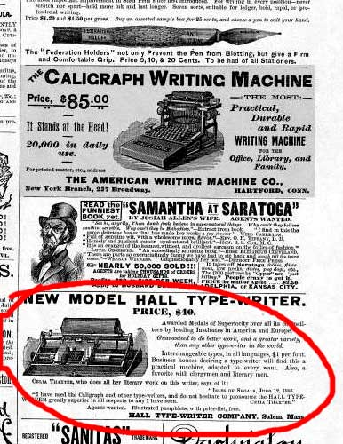 Celia Thaxter Typewriter ad in Harpers Weekly