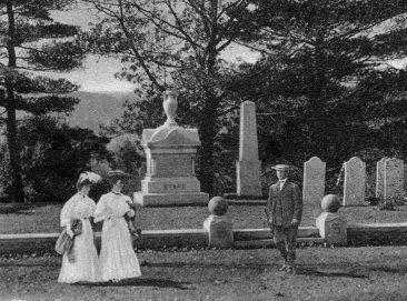 John Stark's grave in Manchester, NH from a pastoral turn-of-the-20th century postcard  (SeacoastNH.com Image Library)