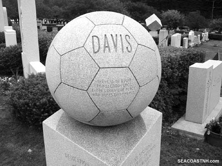 Soccer ball grave sculpture, Barre, VT. SeacoastNH.com