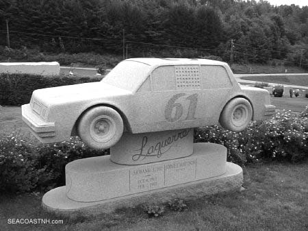 Racing car tombstone in Hope Cemetery, Barre, VT / J. Dennis Robinson photo