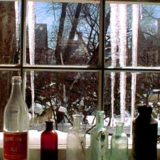 Icicles through a Portsmouth window