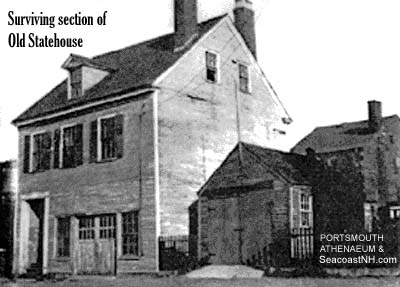 The last surviving piece of the Portsmouth state house around 1935, moved from Market Square 100 years earlier. It was moved to Strawbery Banke Museum in 1969 and dismantled and moved to Concord, NH in 1990. Photo courtesy Portsmouth Athenaeum by Arthur Harriman.