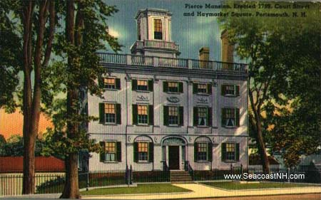 COlorized postcard of John Peirce House in Portsmouth, NH / SeacoastNH.com