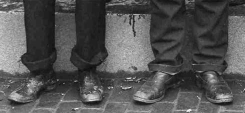 Shoes, rolled up pants and church steps/ Strawbery Banke Archive