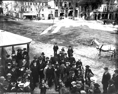 Gypsy street musicians in Victorian Market Square Portsmouth, NH (c) Strawbery Banke Museum Archive on SeacoastNH.com