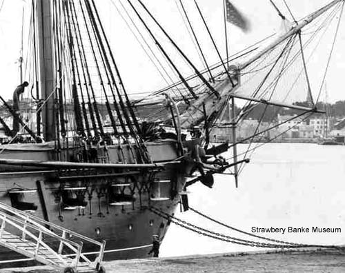 Detail of 1854 USS Constellation in the Piscataqua Rover
