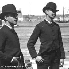 1886 Men standing across from Portsmouth Naval SHipyard/ SeacoastNH.com