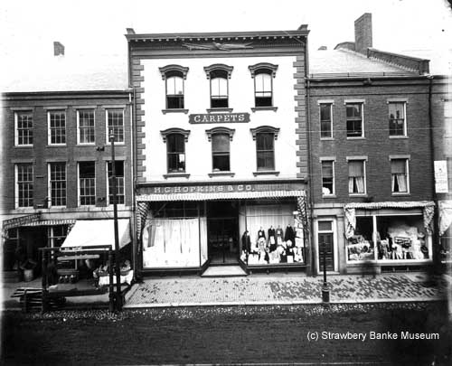 Henry C. Hopkins shop on Market Street Portsmouth, NH, turn of century (c) Strawbery Banke Museum Archive