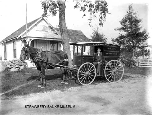 Charles David Garland ran his West Rye general store and grocery delivery cart in New Hampshgire / Strawbery Banke Museum