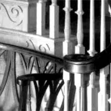 Stairway, railing and settee/ SeacoastNH.com