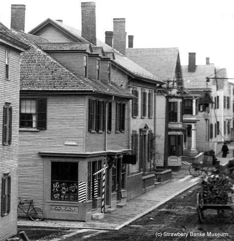 Vuaghan Street at intersection of Hanover Street in 1900, Portsmouth, NH (c) Strawbery Banke Museum