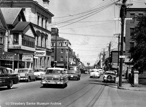 Interesection of State and Pleasanst Streets, Portsmouth, NH, 1958 (c) Strawbery Banke Museum Archive