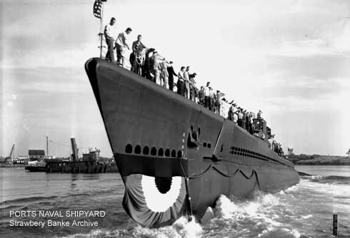 USS Parche (July 24 1943 launch at Portsmouth, NH/ Stawbery Banke Archive