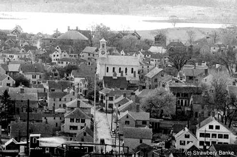 Water STreet aerial view of Portsmouth South End from 1924 / Strawbery Banke Museum photo