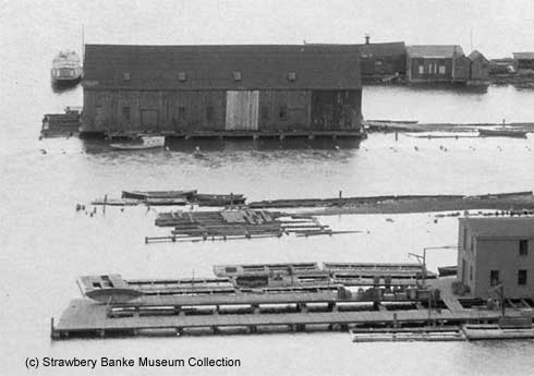 South ENd waterfront warehouses in 1924, Portsmouth, NH /.Strawbery Banke Collections