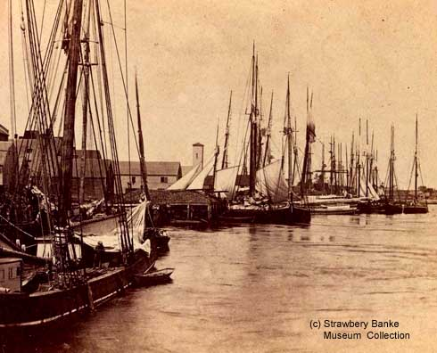Fishing fleet off Ceres St in 1870, Portsmouth, NH (c) Strawbery Banke Museum Collection