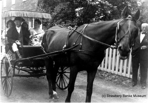 Horse cart at opening of Strawbery Banke Museum in Portsmouth, NH on Memorial Day 1965 (c) Strawbery Banke Collection