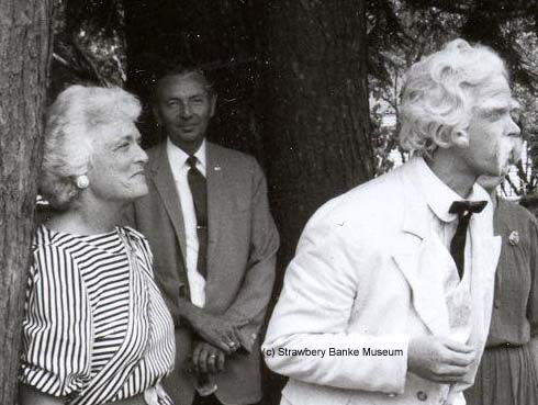 Barbara Bush, wife of VP George Bush, listens to Mark Twain at Strawery Banke in early 1980s  (c) Strawbery Banke Museum archive
