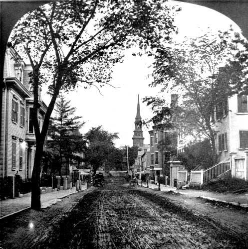 Portsmouth downtown in 1870 (c) Strawbery Banke Museum