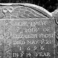 Elizabeth Frost tomb 1696 / Strawbery Banke Archives