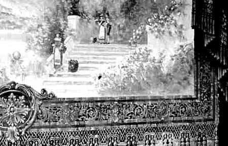 Detail of painted asbestos theatre screen  1916. Strawbery Banke