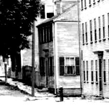 View down Court Street from Aldrich House toward current day Strawbery Banke offices / Strawbery Banke Archive