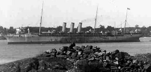 Close-up of ship in background / Strawbery Banke