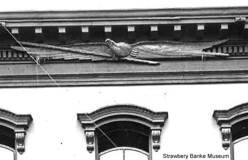 Carved Bellamy eagle above Market Street shop, Portsmouth, NH (c) Strawbery Banke Museum photo archive