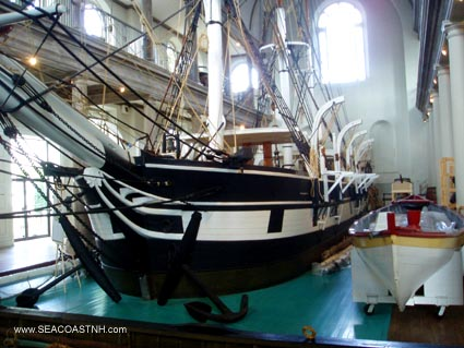 WHalf-size model Whaling ship in New Bedford Whaling Museum / J. Dennis Robinson at SeacoastNH.com