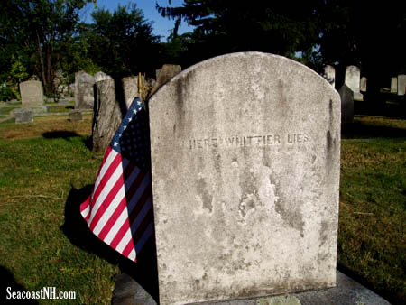 Here Whittier Lies, toombstone of Quaker abolitionist poet John Greenleaf Whittier / SeacoastNH.com