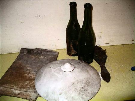 Bottles and chamber pot lid