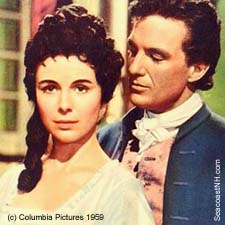 Marissa Pavan as Aimee de Tellison and Robert Stack as John Paul JOnes in 1959 Colimbia film/ SeacpastNH.com