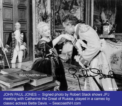 Signed film still of Robert Stack as John Paul JOnes meeting Catherine the Great (Bette Davis) in 1959 film /SeacoastNH.com Collection