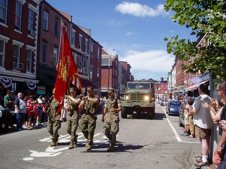 Peace Treaty military parade on Markett Street, Portsmouth, NH / SeacoastNH.com