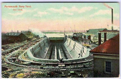 An empty drydock in this postcard