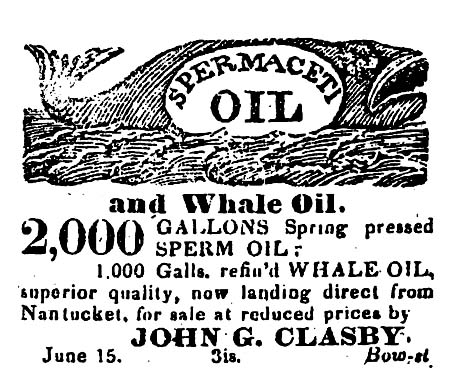 Early Portsmouthouth advertisement for Whale oil / SeacoastNH.com
