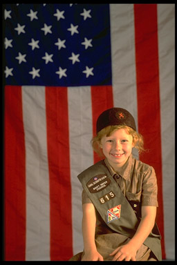 Brownie Scout with Flag (c) Frank Clarkson