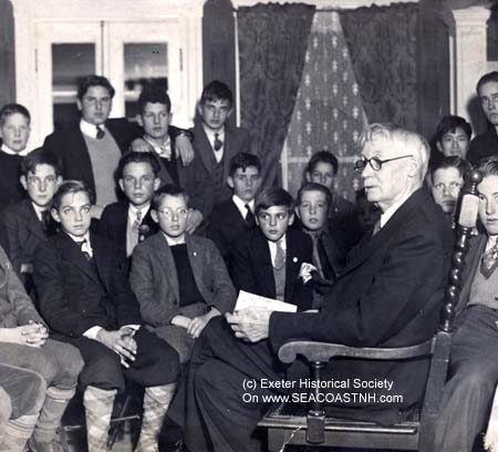 Henry S. Shute reading to boy students (c) Exeter Historical Society on SeacoastNH.com
