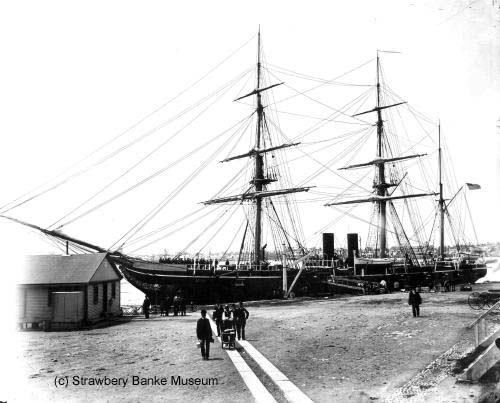 USS Benicia  ala USS Algoma, Portsmouth-built launched in Kittery / Strawbery Banke Archives