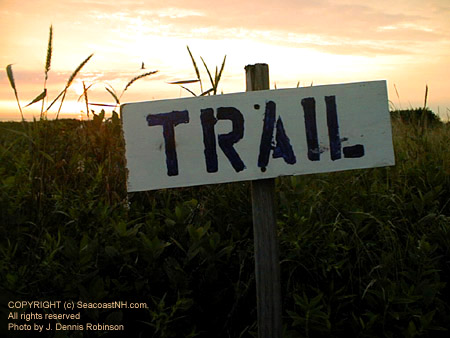 Smuttynose Trail sign at sunrise (c) SeacoastNH.com, photo by J. Dennis Robinson