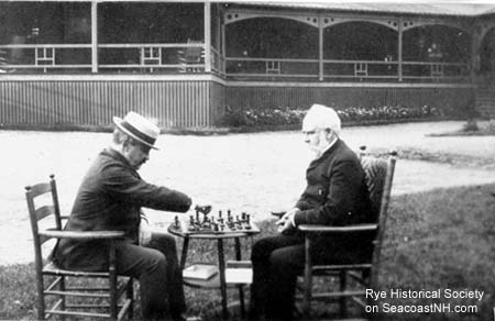 Playing chess at the Farragut Hotel/ Rye Historical Society